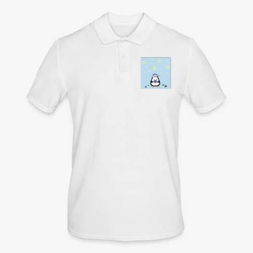 christmas penguin on blue background - Men's Polo Shirt