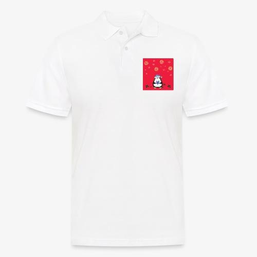 penguin red background - Men's Polo Shirt