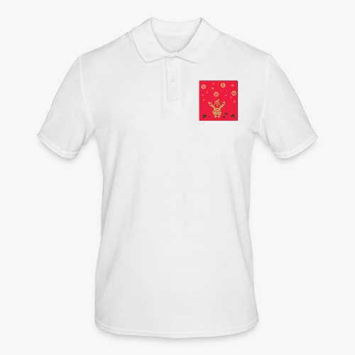 Santa Claus on a red background and snowflake - Men's Polo Shirt