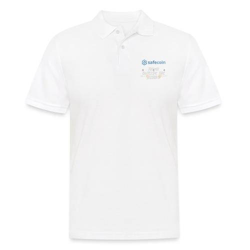 SafeCoin; Think Outside the Blocks (blue + white) - Men's Polo Shirt