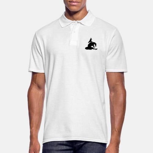 Hexe auf Westernpferd, Sliding Stop - Männer Poloshirt