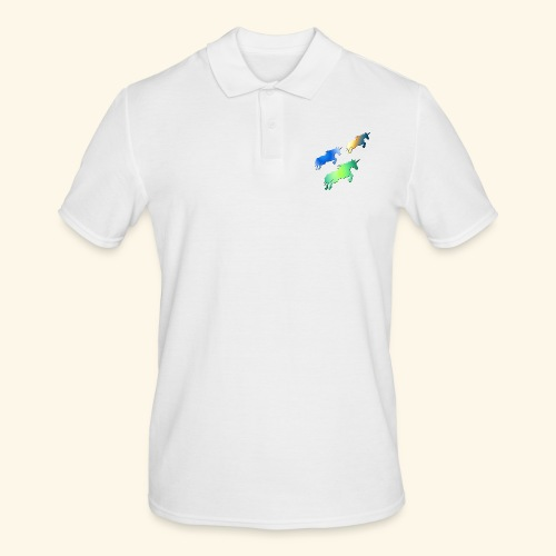 Three lucky mane fairy tale unicorns leaping - Men's Polo Shirt