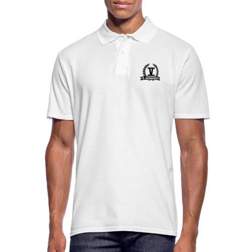 V mit College-Schriftzug - Schwarz - Männer Poloshirt