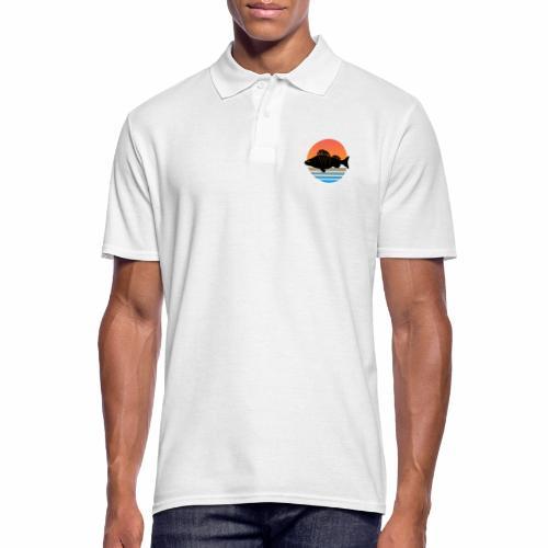 Retro Barsch Angeln Fisch Wurm Angler Raubfisch - Männer Poloshirt