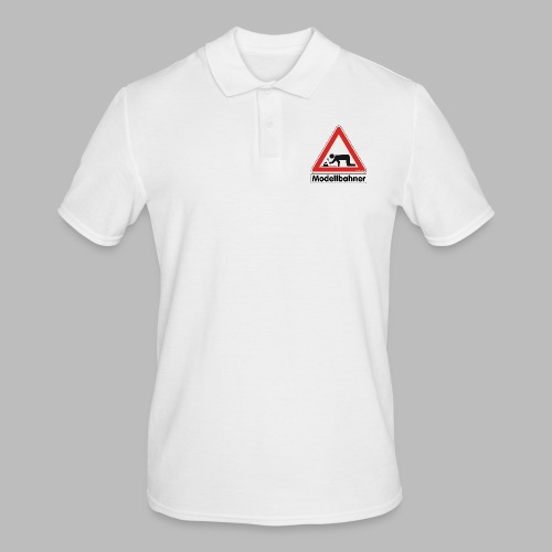 Warnschild Modellbahner Dampflok - Männer Poloshirt