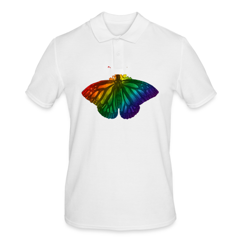 Regenboog vlinder - Freedom, Love en Happiness - Mannen poloshirt