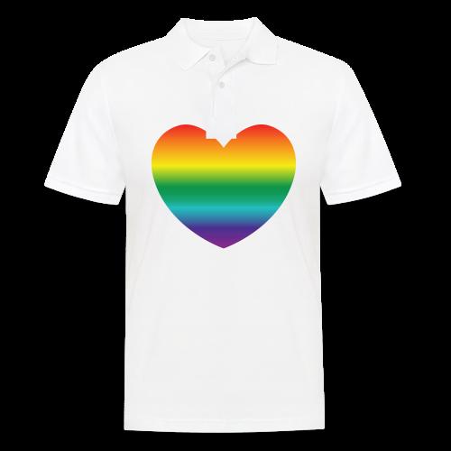 Hart in regenboog kleuren - Mannen poloshirt