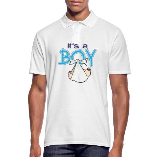 Babyshower Boy Blauw - Mannen poloshirt