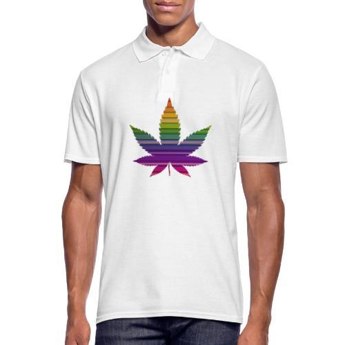 Weedblatt Design mit farbenfrohem Hintergrund - Männer Poloshirt