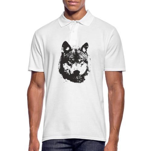 illustration te e te de loup noire - Polo Homme