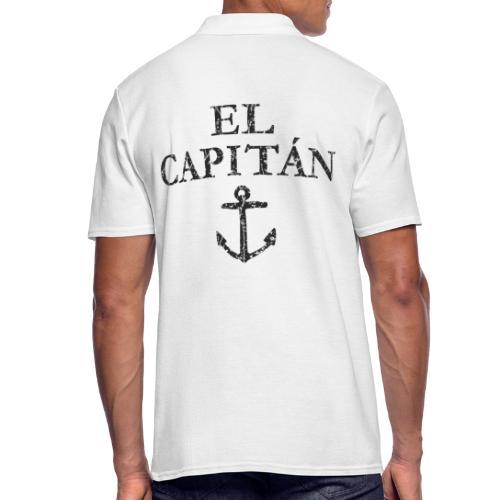 El Capitan Anker (Vintage Schwarz) Kapitän Käpt'n - Männer Poloshirt