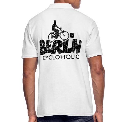 Berlin Cycloholic (Vintage/Schwarz) Fahrradfahrer - Männer Poloshirt