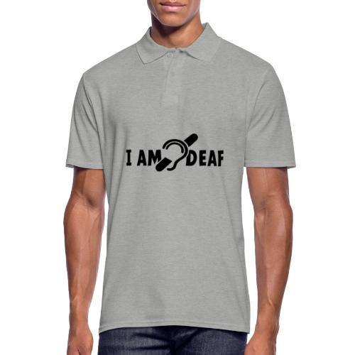 I am deaf. Ik hoor je niet. Doven, slechthorend - Mannen poloshirt