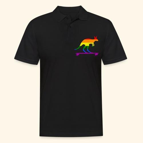 Skater Känguru Longboard Skateboard Regenbogenfahn - Männer Poloshirt