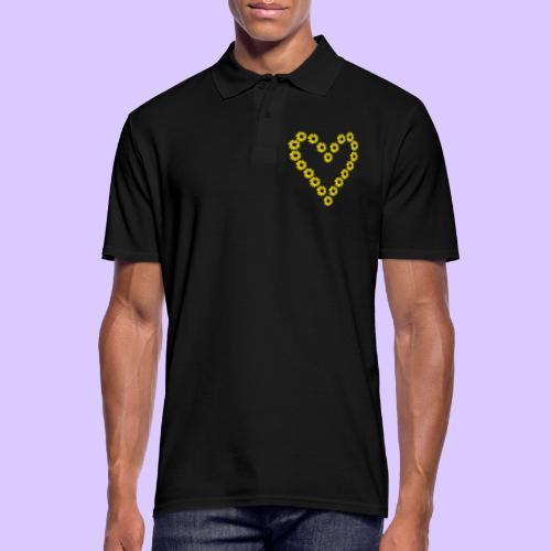 Sonnenblumenherz, Sonnenblumen, Sonnenblume, Herz - Männer Poloshirt