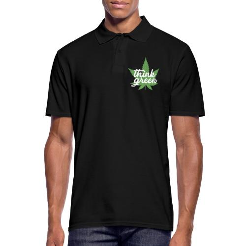 Think Green - smoking weed, cannabis, marijuana - Men's Polo Shirt