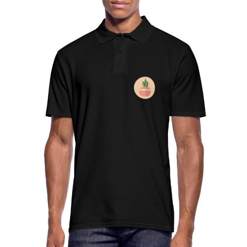 Flat 3 Leaf Potted Plant Motif Round - Men's Polo Shirt