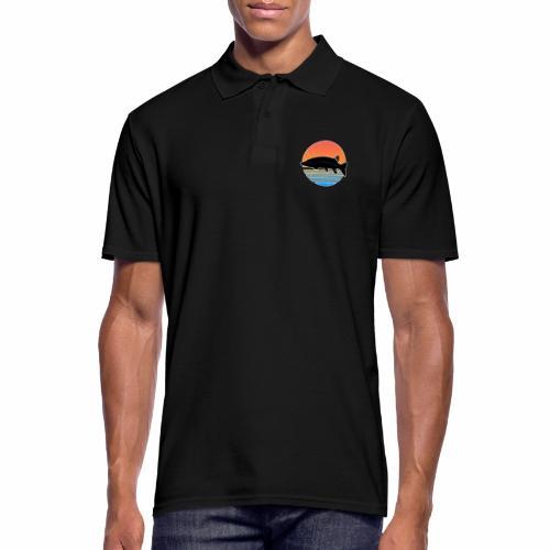 Retro Hecht Angeln Fisch Wurm Raubfisch Shirt - Männer Poloshirt
