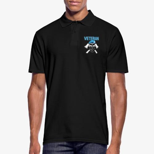Veteran - Dödskalle med blå basker och yxor - Pikétröja herr
