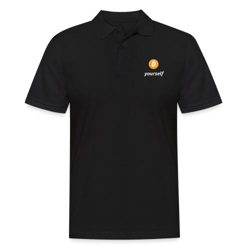 cryptocool b yourself white font -bitcoin logo - Mannen poloshirt