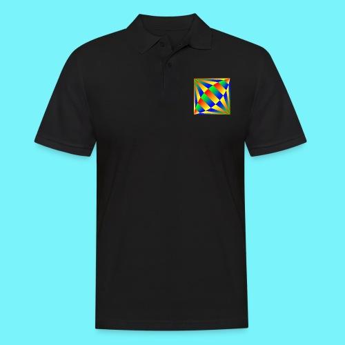 Giant cufflink design in blue, green, red, yellow. - Men's Polo Shirt