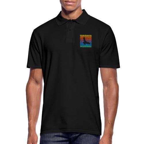Abstract rainbow predator bird and its prey - Männer Poloshirt