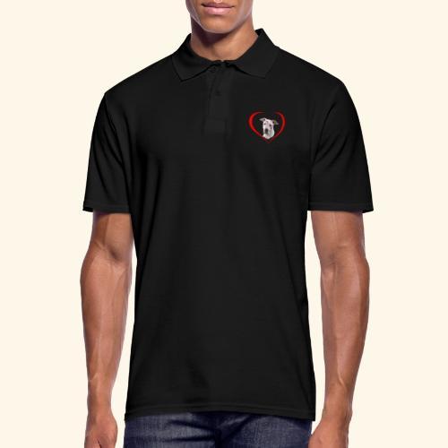 weisser Pit bull Herz Kuss - Männer Poloshirt