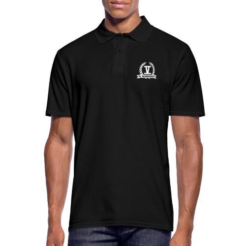 V mit College-Schriftzug - Weiß - Männer Poloshirt