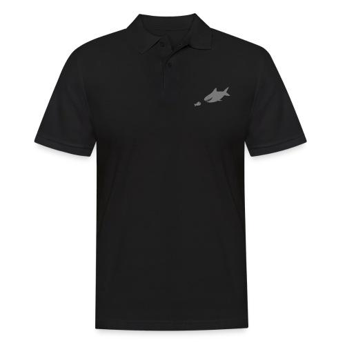 Kleiner Fisch + Hai / dunkler Hintergrund - Männer Poloshirt