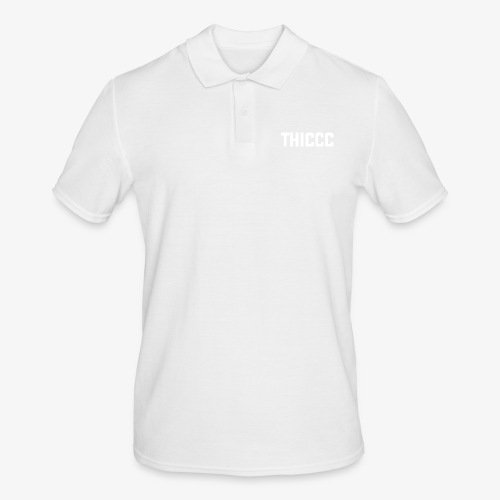 thiccc text logo WHITE - Men's Polo Shirt
