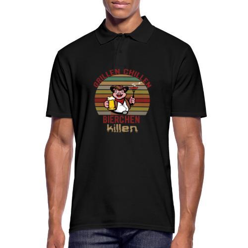 Grillen Chillen Bierchen Killen Lustiges Humorvol - Männer Poloshirt