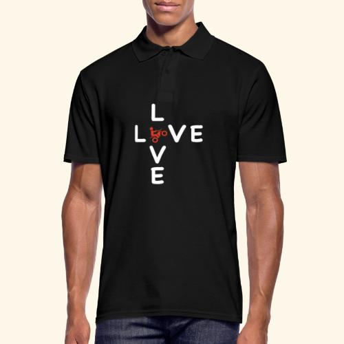 LOVE Cross white wheely red 001 - Männer Poloshirt
