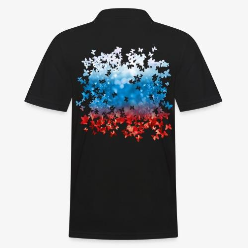 06 Russland Flagge Fahne Russia Schmetterlinge - Männer Poloshirt