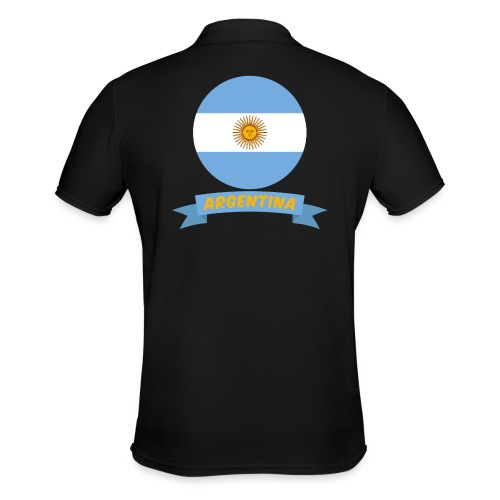 flag of argentina t shirt design ribbon banner - Polo da uomo