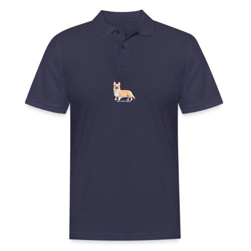 Topi the Corgi - White text - Men's Polo Shirt