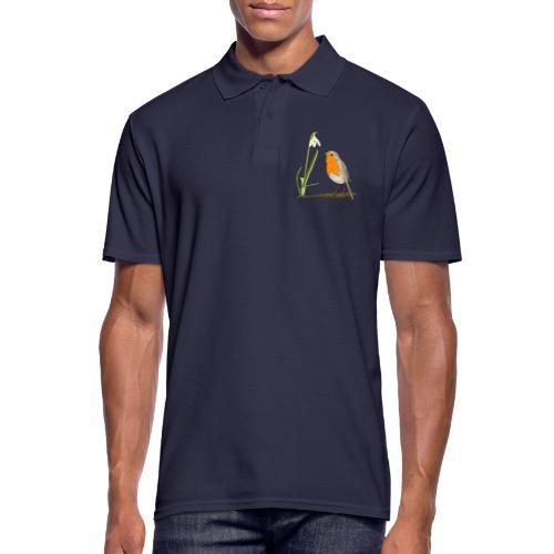 Frühling, Rotkehlchen, Schneeglöckchen - Männer Poloshirt