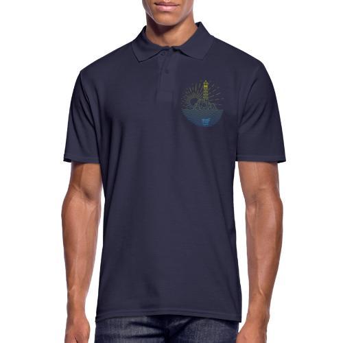 Leuchtturm mit Sonne am Meer - Männer Poloshirt