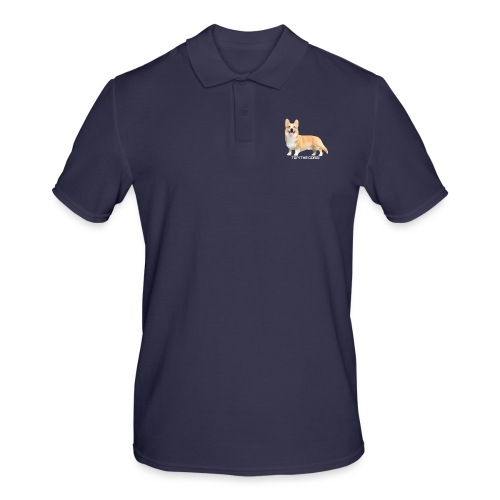 Topi the Corgi - White text - Men's Polo Shirt