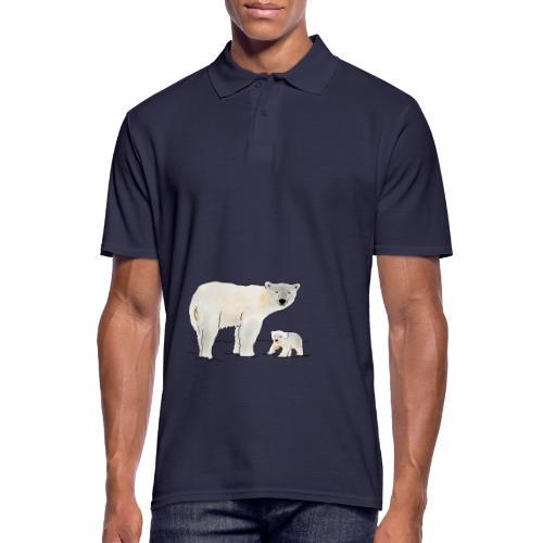 Eisbär mit Jungtier - Männer Poloshirt