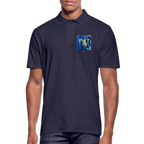 TIAN GREEN Welt Mosaik - AT042 Blue Passion - Männer Poloshirt