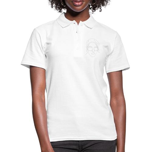 minimal lines girl, line art, woman with glasses - Women's Polo Shirt