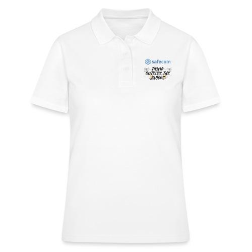 SafeCoin; Think Outside the Blocks (black + blue) - Women's Polo Shirt
