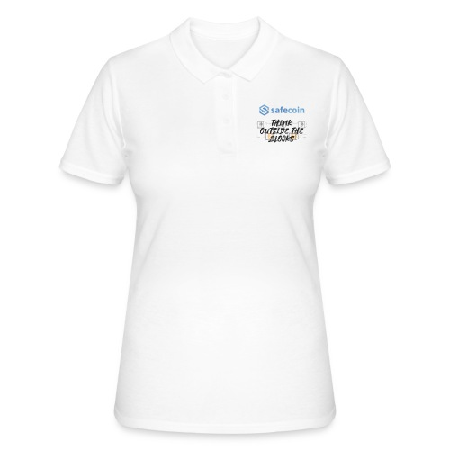 SafeCoin; Think Outside the Blocks (black + blue) - Women's Polo Shirt