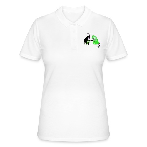 Playing Senet by BlackenedMoonArts, green w. logo - Women's Polo Shirt