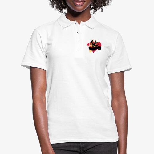retro tattoo bird with heart - Women's Polo Shirt