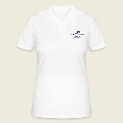 Moin mit Schiff blau - Frauen Polo Shirt