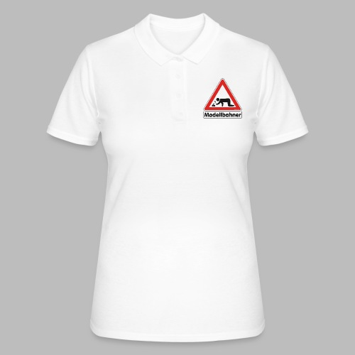 Warnschild Modellbahner Dampflok - Frauen Polo Shirt