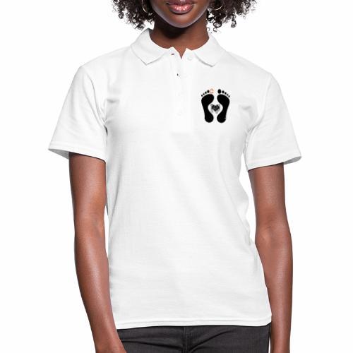 Barfuss-Logo mit komplizierter Herzgrafik - Frauen Polo Shirt