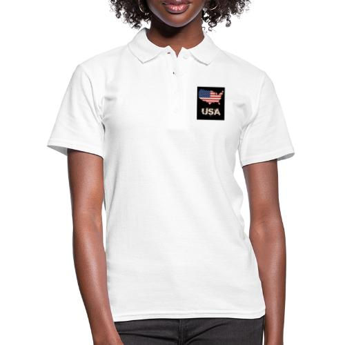 USA FLAG 4th of July With Flag - Women's Polo Shirt