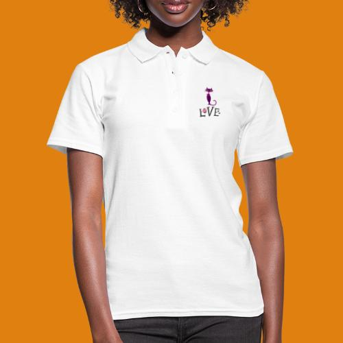t-shirt cat love - Women's Polo Shirt